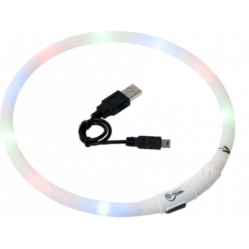 Flamingo világító nyakörv LED+USB fehér 70 cm