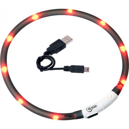 Flamingo világító nyakörv LED+USB fekete 70 cm