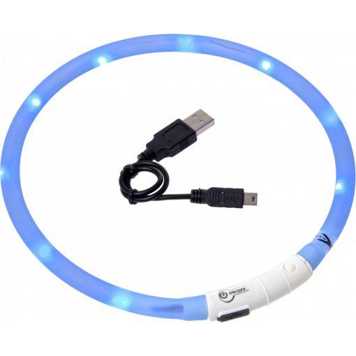 Flamingo világító nyakörv LED+USB kék 70 cm