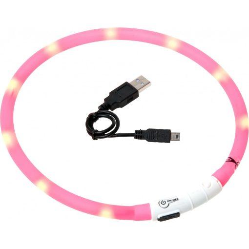 Flamingo világító nyakörv LED+USB pink 35 cm