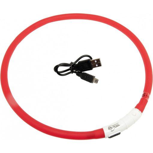 Flamingo világító nyakörv LED+USB piros 70 cm