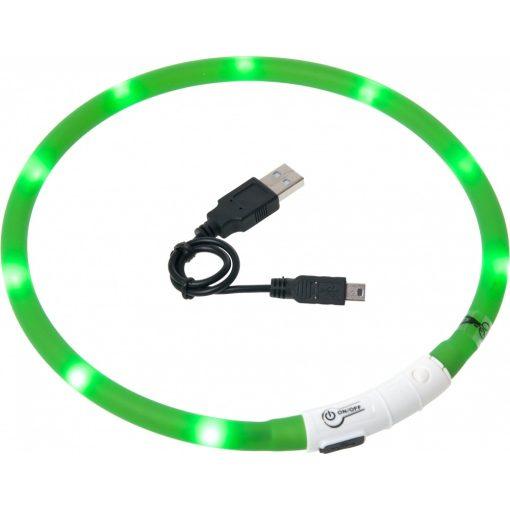 Flamingo világító nyakörv LED+USB zöld 70 cm