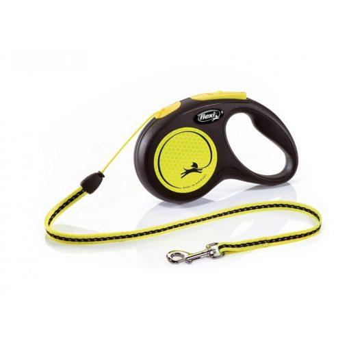Flexi New Neon zsinóros automata póráz neon sárga 5m 12kg S méret
