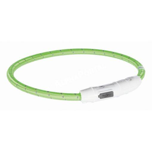 Trixie világító nyakörv USB töltővel zöld 45 cm